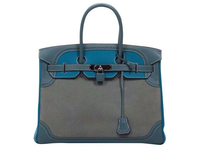 Hermès Birkin 35 Handbags Suede,Leather Blue,Grey ref.174742