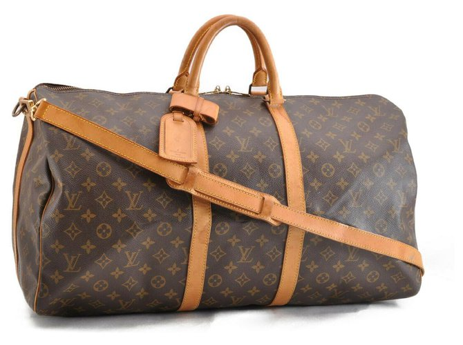 Louis Vuitton Louis Vuitton Keepall Bandouliere 55 Travel bag Cloth Brown ref.174748