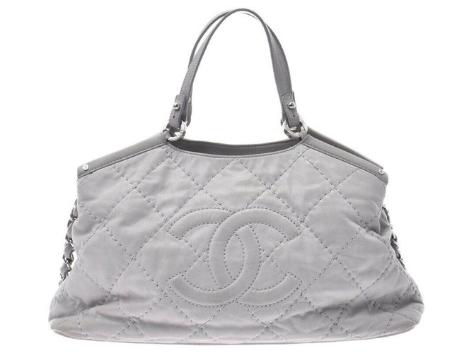 Chanel Chanel Matrasse Chain Handbags Leather Grey ref.174750