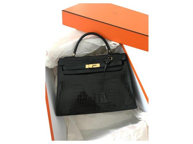 Hermès Kelly Croco Handbags Exotic leather Black ref.174773
