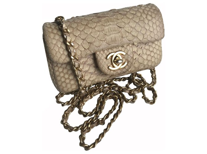 Chanel Timeless Mini Flap Bag luxurious python Handbags Leather,Exotic leather Beige,Cream ref.174839