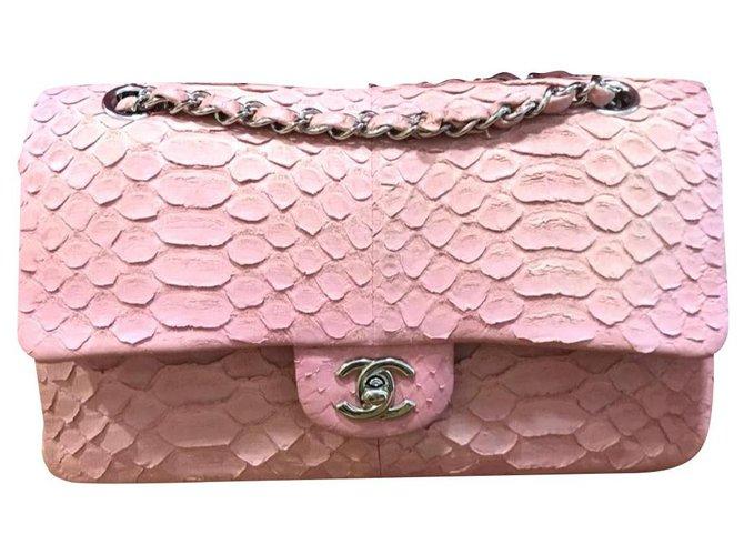 Chanel Chanel pink medium snakeskin flap bag Handbags Exotic leather Pink ref.174910