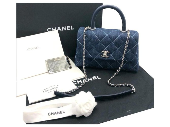 Chanel Chanel coco handle bag Handbags Denim Blue ref.174920