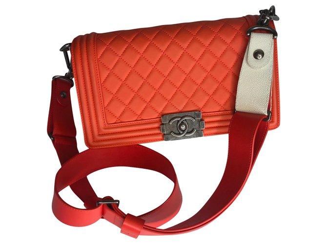 Chanel Medium Boy Bag Galuchat wide strap Handbags Leather,Exotic leather Orange ref.174945