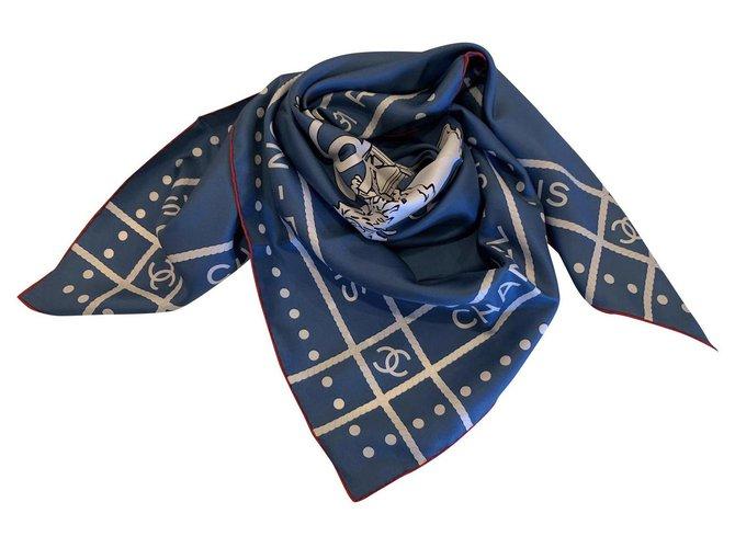 Chanel Chanel scarf Scarves Silk Blue ref.174987