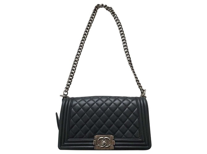Chanel Chanel black medium boy bag Handbags Leather Black ref.175022