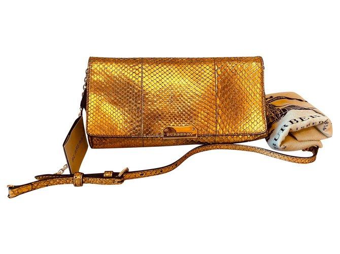Burberry Small Metallic Python Clutch Bag Handbags Python Golden ref.175026