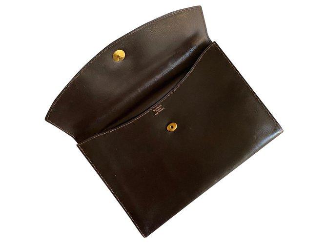 Hermès Hermès Rio clutch Clutch bags Leather Brown ref.175030