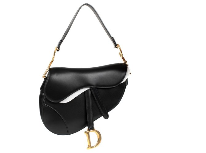 Christian Dior Christian Dior Saddle bag in black box leather, Golden Jewelery, new condition Handbags Leather Black ref.175720