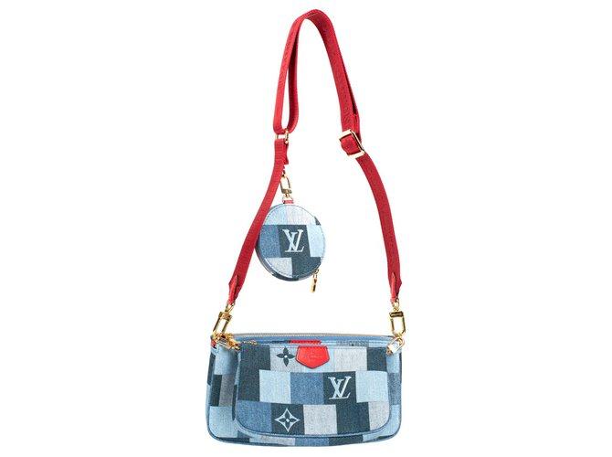 Louis Vuitton Multi-Pochette Limited edition Louis Vuitton in Denim, new condition! Clutch bags Denim Red,Blue ref.175818
