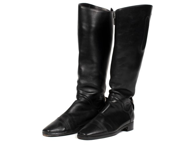 Hermès Hermès riding boots in black calf leather Boots Leather Black ref.175821
