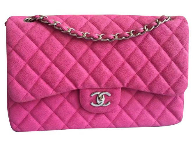 Chanel Chanel Pink suede caviar Jumbo flap bag Handbags Leather Pink ref.175837