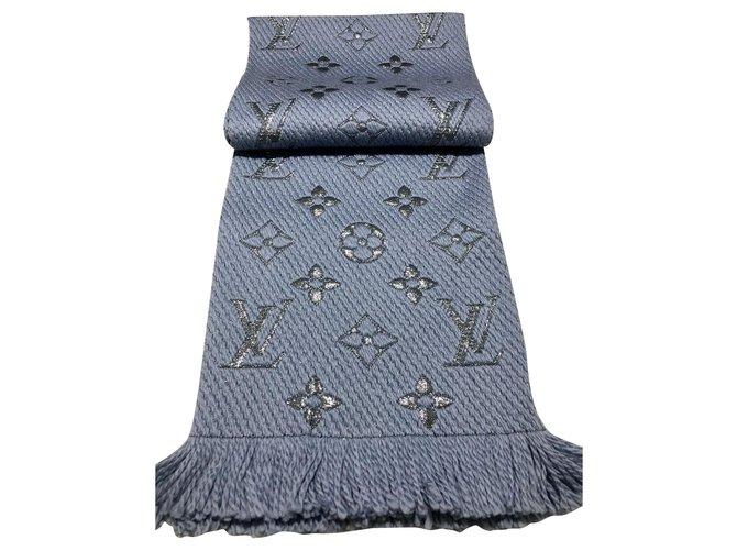 Louis Vuitton Louis Vuitton logomania shine scarves Scarves Silk,Polyester,Wool Blue ref.175889
