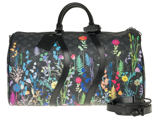 Louis Vuitton Limited Edition Louis Vuitton Keepall 50 Eclipse Foliage with strap, pristine condition Bags Briefcases Leather,Cloth Black,Multiple colors ref.175895