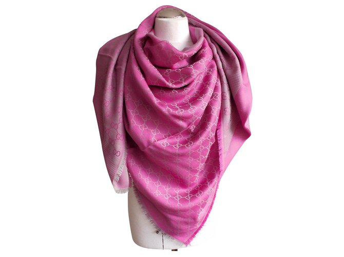 Gucci GGWEB GUCCI NEW Scarves Silk,Wool Pink ref.176072