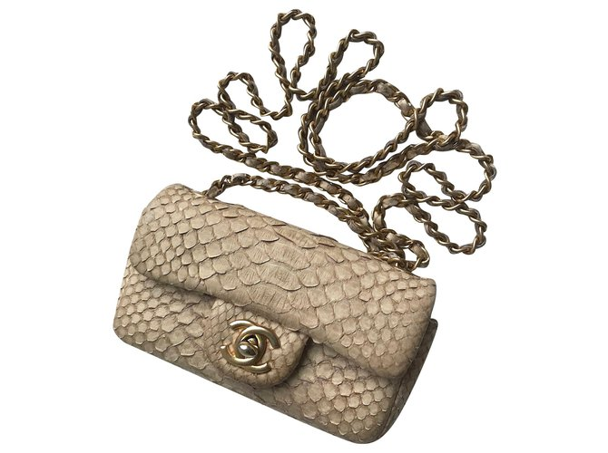 Chanel w/box python mini flap bag Handbags Leather,Exotic leather,Python Beige ref.176142