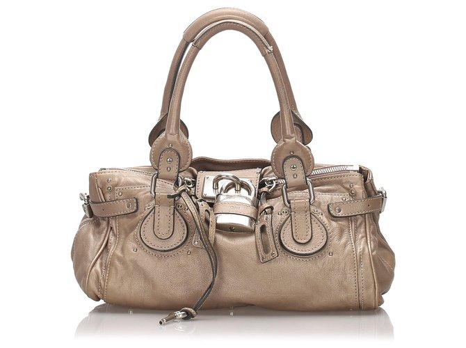 Chloé Chloe Brown Leather Paddington Handbag Handbags Leather,Pony-style calfskin Brown,Beige ref.176540