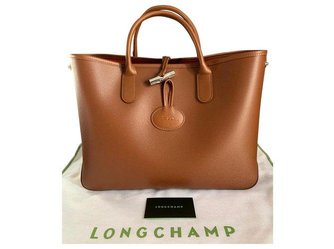 Sac Longchamp Roseau S porté main camel