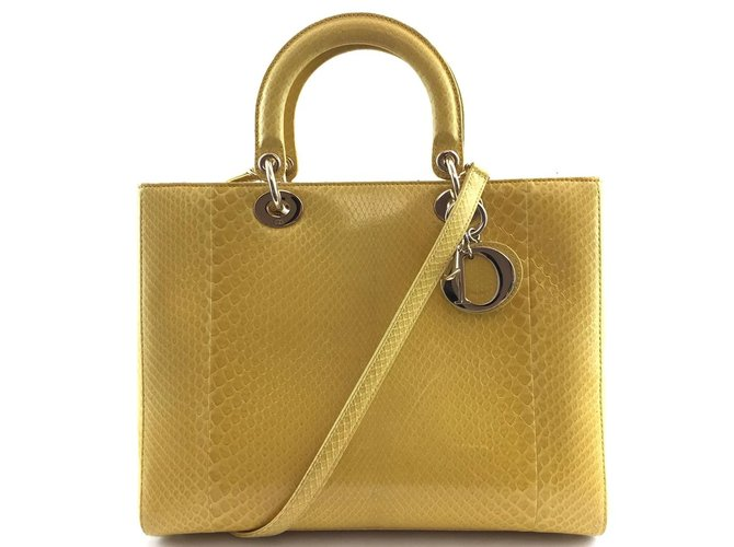 Dior Dior Lady Yellow Python Skin Leather Handbags Leather Yellow ref.176664