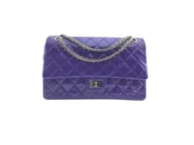 Chanel Chanel 2.55 Blue with Purple Caviar Leather Handbags Leather Purple ref.176670