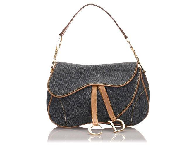 Dior Dior Blue Denim lined Saddle Handbags Leather,Denim,Pony-style calfskin,Cloth Brown,Blue,Other,Light brown ref.176730