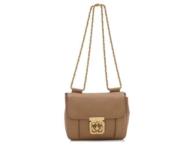 Chloé Chloe Brown Leather Elsie Crossbody Bag Handbags Leather,Pony-style calfskin Brown ref.176779