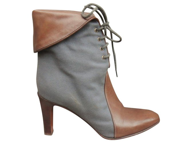 Chloé Chloé canvas and leather ankle boots p 37 Ankle Boots Leather,Cloth Grey ref.176802