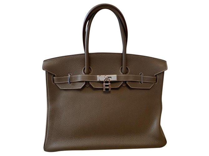 Sacs à main Hermès Hermès Cuir Gris ref.176920