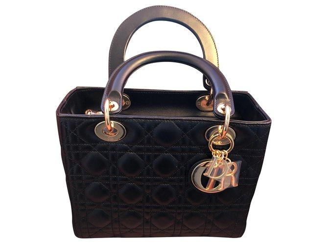 Christian Dior Lady D Handbags Leather Black ref.176948