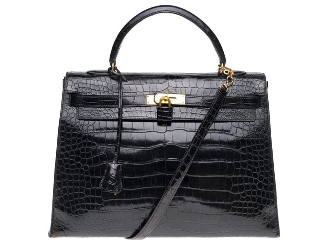 Hermès Superb Hermes Kelly 35 black porosus crocodile strap, gold plated metal trim Handbags Exotic leather Black ref.176965