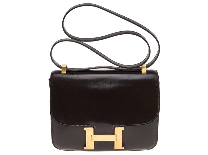 Hermès Hermes Constance 23 In brown box leather, gold plated metal trim Handbags Leather Brown ref.176968