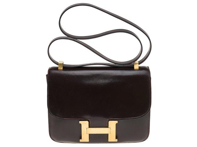 Sacs à main Hermès Hermès Constance 23 en cuir box marron, garniture en métal plaqué or Cuir Marron ref.176968