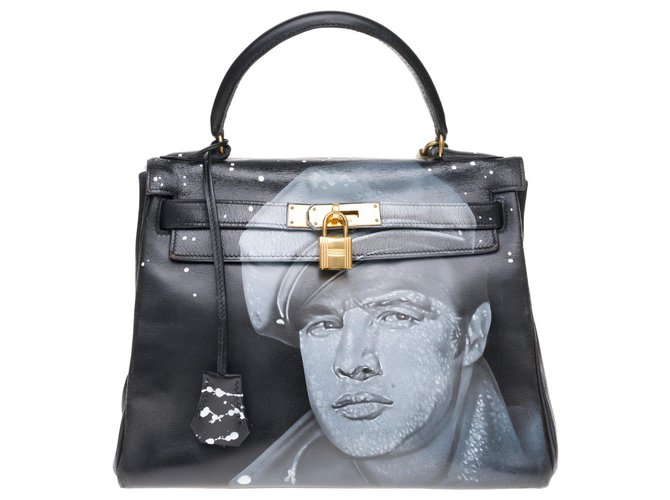 """Hermès hermes kelly 28cm in black box leather customized """"Marlon Brando"""" #55 by PatBo, golden jewelry in good condition! Handbags Leather Black ref.177044"""