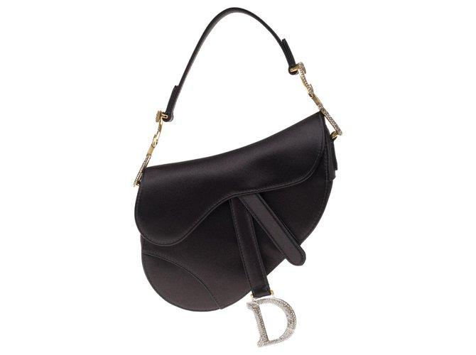 Christian Dior Christian Dior Saddle Mini bag in black satin, aged gold jewelry and rhinestones, new condition Handbags Satin Black ref.177084