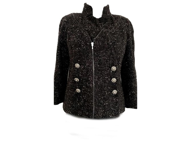 Chanel metallic tweed jacket Jackets Tweed Black ref.177265
