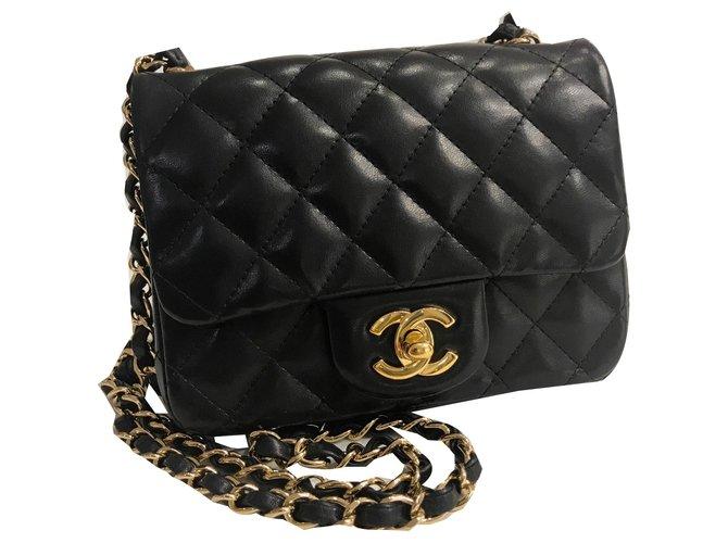 Sacs à main Chanel Sac à rabat intemporel mini carré Cuir Noir ref.177430