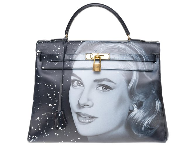 "Hermès Hermes Kelly bag 35 returned in black box leather customized ""Grace Kelly"" # 54 by PatBo Handbags Leather Black ref.177561"