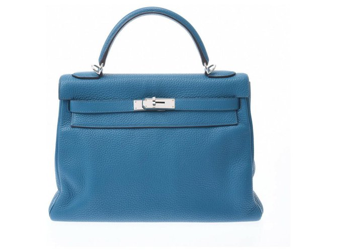Hermès hermes kelly 32 Handbags Leather Blue ref.177578