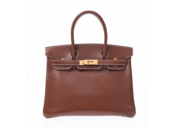 Hermès HERMES BIRKIN 30 Handbags Leather Brown ref.177580
