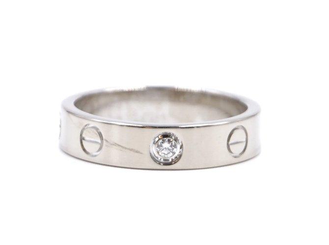 Bagues Cartier cartier 18K 750 1Taille de bague P Diamond Love 49 Or blanc Argenté ref.177653