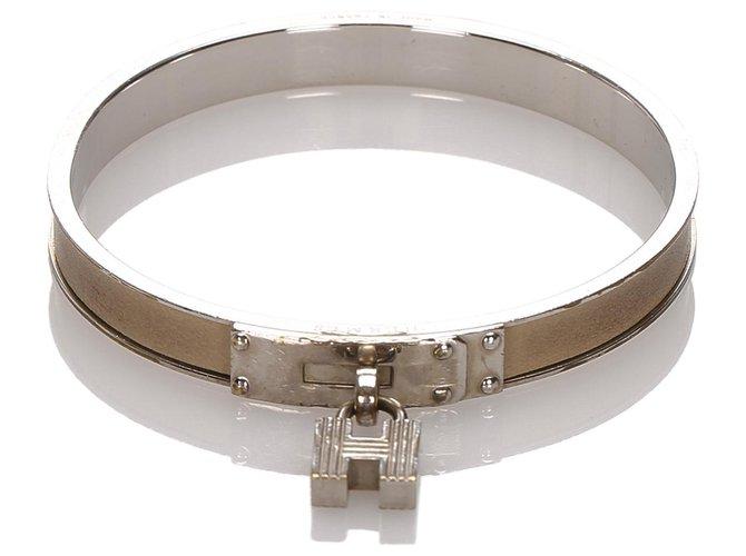 Bracelets Hermès Hermes Silver Kelly H Lock Cadena Bracelet Autre,Métal Argenté ref.177957