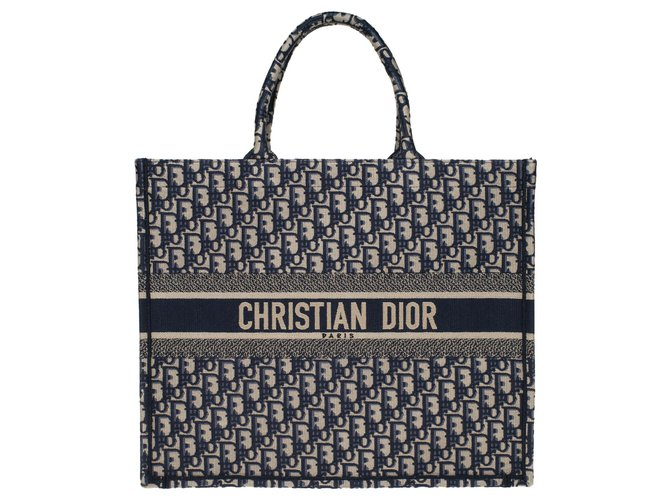 Christian Dior Christian Dior Book GM shopping bag in blue canvas, new condition Totes Cloth Blue ref.178020