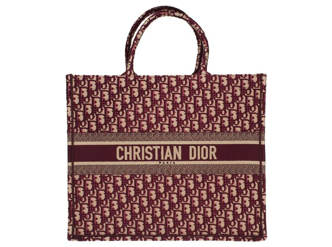 Christian Dior Christian Dior Book GM tote in burgundy oblique Monogram canvas, new condition Handbags Cloth Dark red ref.178036