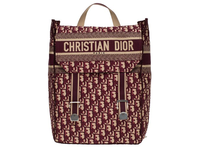 Christian Dior Christian Dior backpack in burgundy oblique monogram canvas, new condition Backpacks Cloth Dark red ref.178039