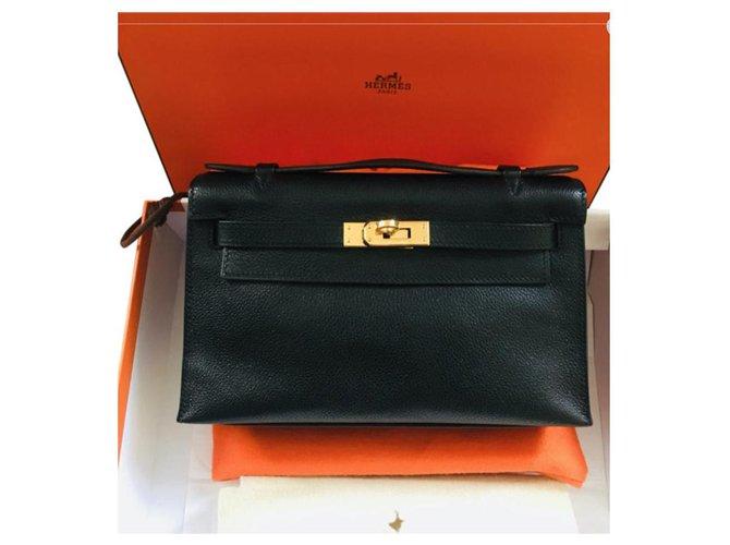 Hermès Very beautiful Hermès KELLY CLUTCH Bag Black, Evergrain Handbags Leather Black ref.178164