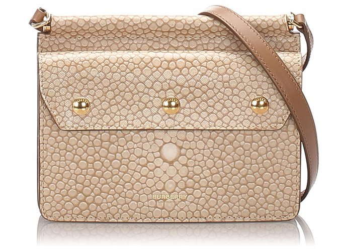 Burberry Burberry Brown Printed Leather Baby Title Crossbody Bag Handbags Leather,Pony-style calfskin Brown,Beige ref.178248