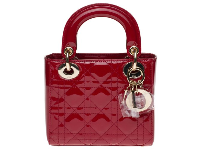 Christian Dior Mini Lady Dior shoulder bag in cherry red patent leather, new condition Handbags Patent leather Red ref.178274