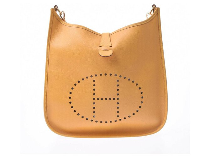 Hermès Hermes Evelyne GM Handbags Leather Yellow ref.178282