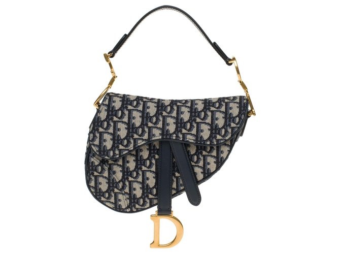 Christian Dior Christian Dior Mini Saddle bag in blue oblique Dior canvas, new condition Handbags Cloth Blue ref.178295