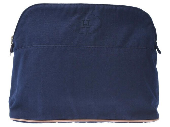Hermès Hermès Bored Pouch Clutch bags Cotton Blue ref.178319